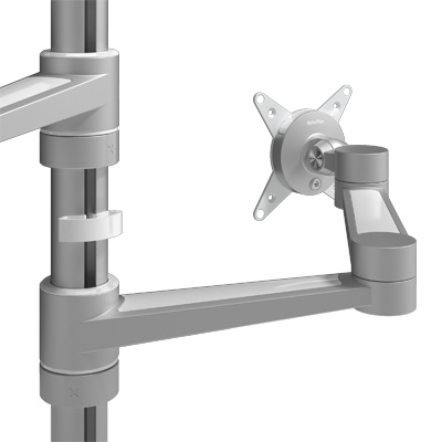 58.142 | Viewlite monitor arm - desk 142 | silver-white | For 2 monitors, adjustable height and depth, with desk mount. | Detail 1