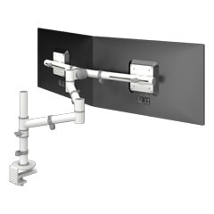 48.130 | Viewgo monitor arm - desk 130 | white | For 2 monitors, adjustable height and depth, with desk mount.