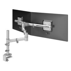 48.132 | Viewgo monitor arm - desk 132 | silver | For 2 monitors, adjustable height and depth, with desk mount.